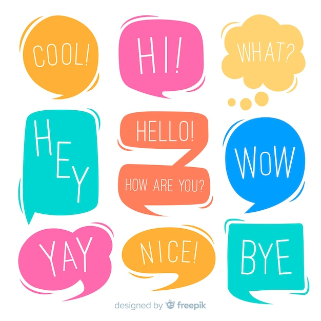 Chatting phrases on colourful speech bubbles collection Free Vector