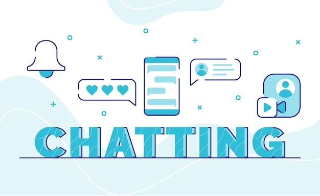 Chatting typography word art background of icon bell emoticon bubble chat video call global with outline style Premium Vector