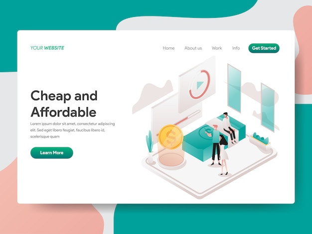 Cheap and affordable isometric for website page Premium Vector