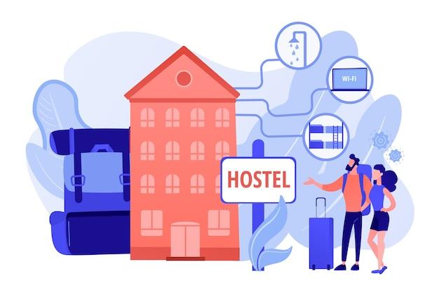 저렴한 여관, 저렴한 게스트 하우스. 대학 기숙사, 모텔 체크인 무료 벡터