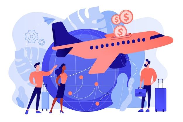 航空輸送の格安チケット。費用対効果の高い直前のフライトオファー 無料ベクター