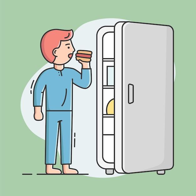 치트 식사와 건강한 라이프 스타일 개념. 젊은 남자는 냉장고에서 핫도그를 먹고있다. 남성 캐릭터가 다이어트를 속이고 건강에 해로운 식사를하고 있습니다. 프리미엄 벡터