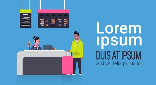 Check in airport with stuff worker on counter and african american man passenger with luggage, departures board concept Premium Vector