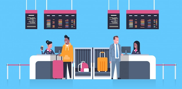 Check in airport with stuff workers on counter and male passengers with luggage, departures board concept Premium Vector