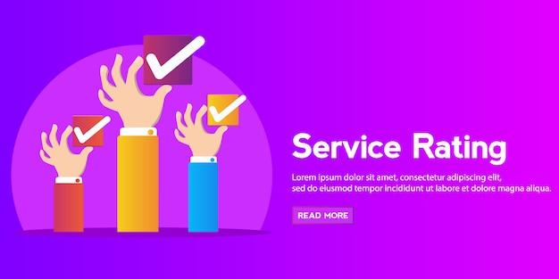 Check box concept . hands holding check box banner Premium Vector