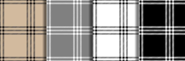 Check fashion seamless patterns set vector repeat backgrounds