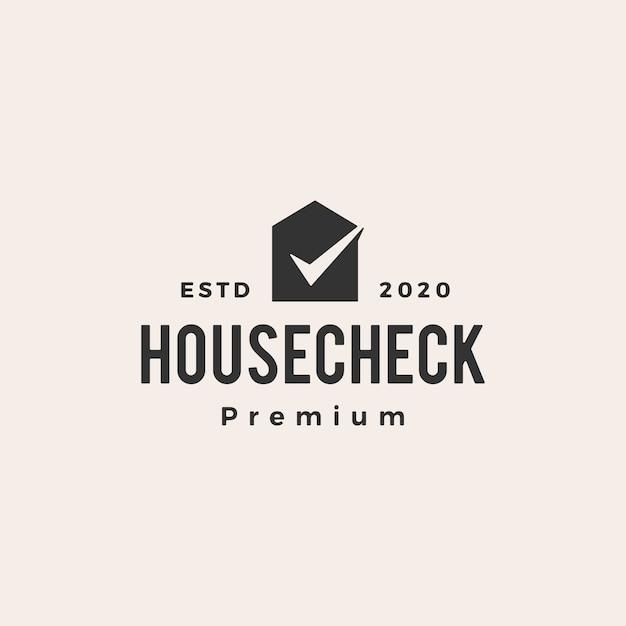 チェックハウスヴィンテージロゴアイコンイラスト Premiumベクター
