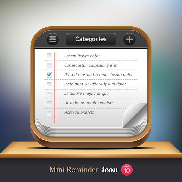 チェックリスト。 webまたはモバイルアプリケーションのミニリマインダーアイコン。 。 Premiumベクター