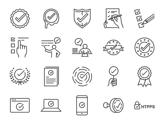 Check mark icon set Premium Vector