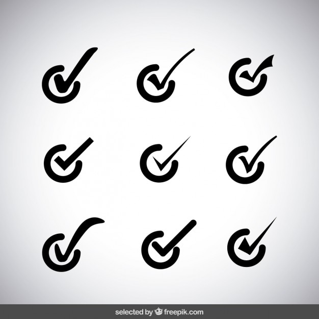 Check Mark Icons Collection Vector Free Download