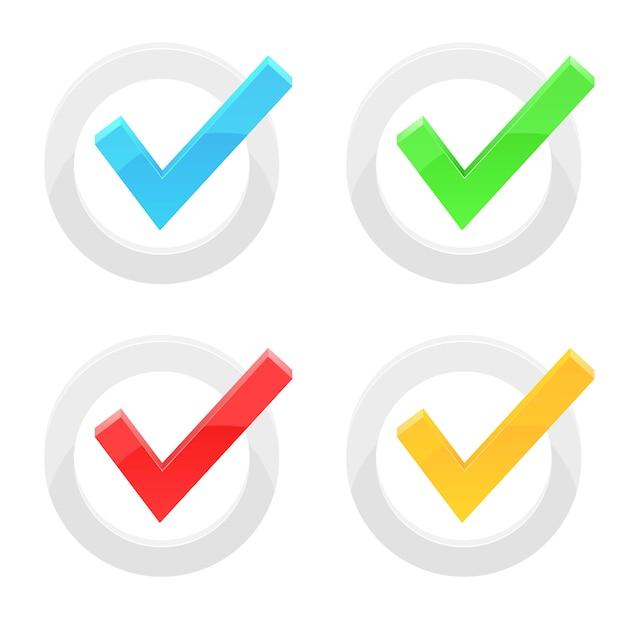 白い背景の上のチェックマークのイラスト由来 Premiumベクター