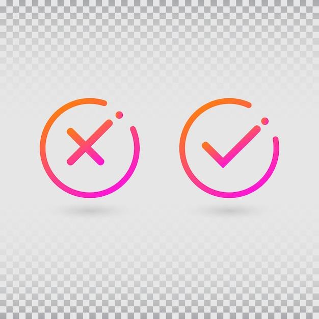 Флажки, установленные в современных цветах градиента. яркая галочка и крест в форме круга. Premium векторы