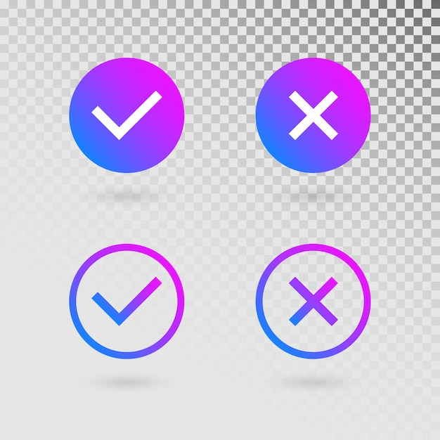 Check marks set in modern gradient colors. bright tick and cross in circle shapes Premium Vector