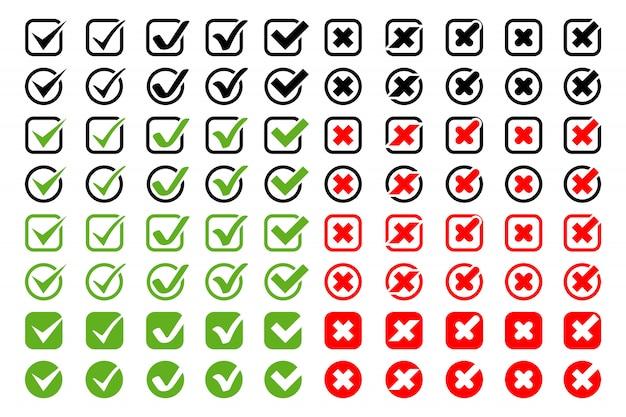 십자가 아이콘 확인 표시 큰 컬렉션. 십자가와 확인 표시가 다른 모양과 색상, 흰색 배경에 고립. 현대 간단한 평면 디자인에 확인 표시 아이콘 및 십자가 프리미엄 벡터
