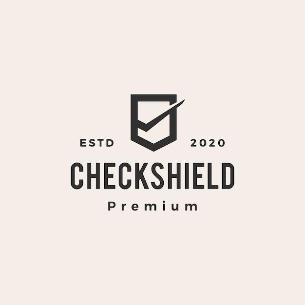 チェックシールドヴィンテージロゴアイコンイラスト Premiumベクター