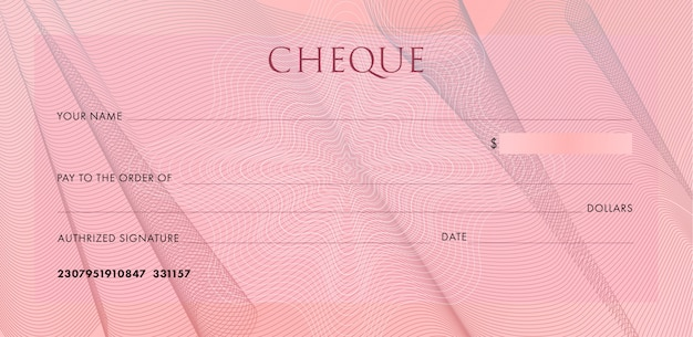 Check template, chequebook. blank pink business bank cheque with guilloche cloth folds and abstract watermark. Premium Vector