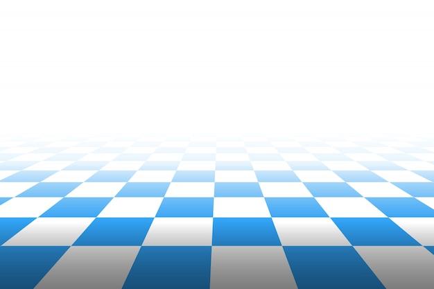 視点で市松模様の背景。正方形-青と白。図。 Premiumベクター