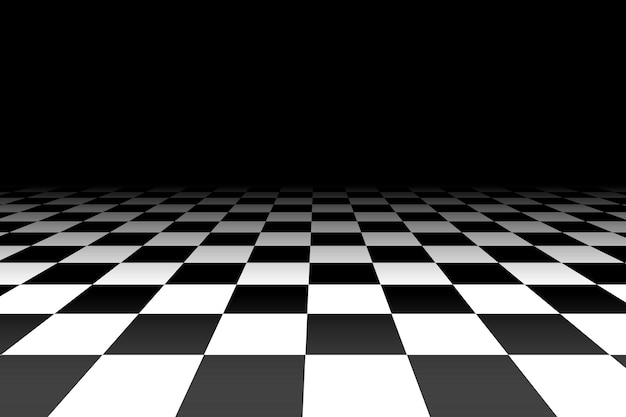 Checkered background in perspective Premium Vector
