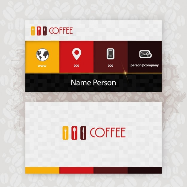 Checkered business card of cafeteria Free Vector