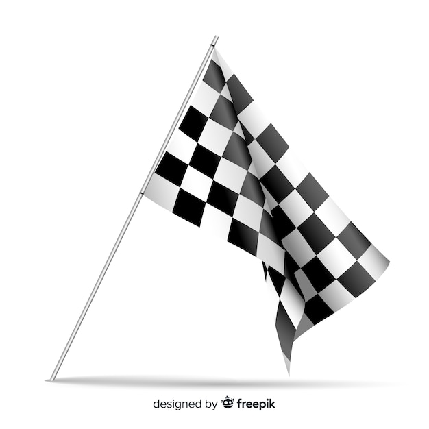 Checkered flag background in realistic style Free Vector