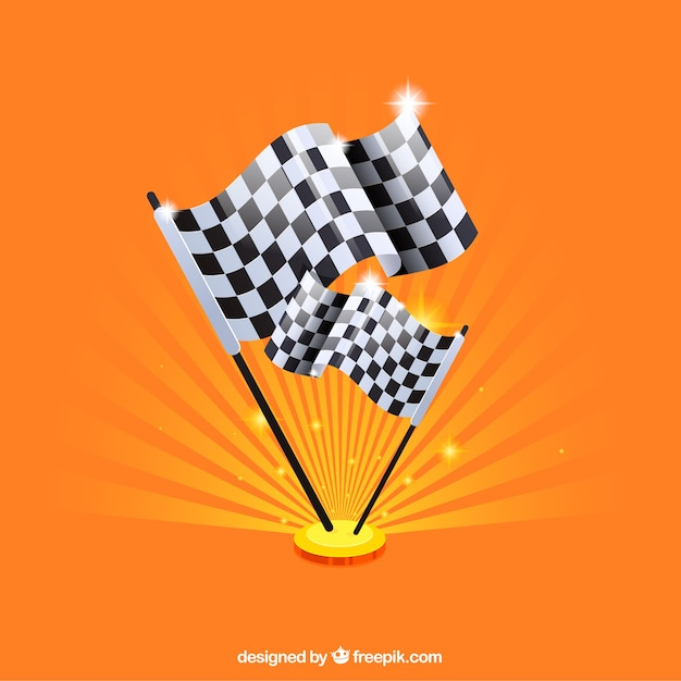 Checkered flag background with flat design Free Vector