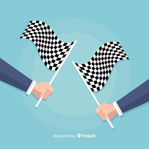 Checkered flag background with hands Free Vector