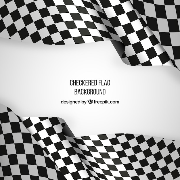Checkered flag background with realistic design Free Vector