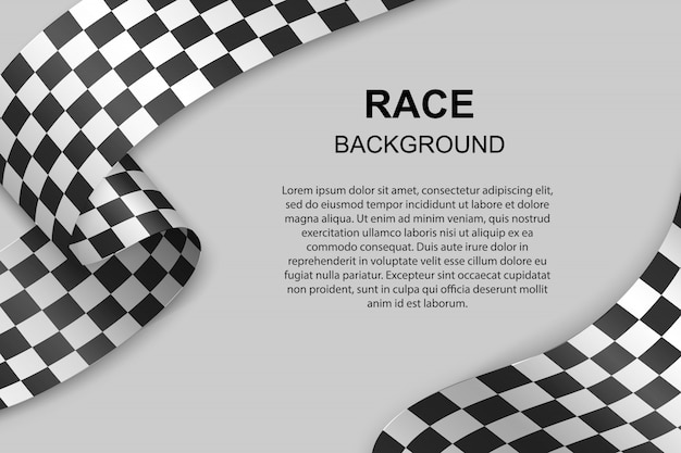 Checkered flag background with text template. illustration Premium Vector