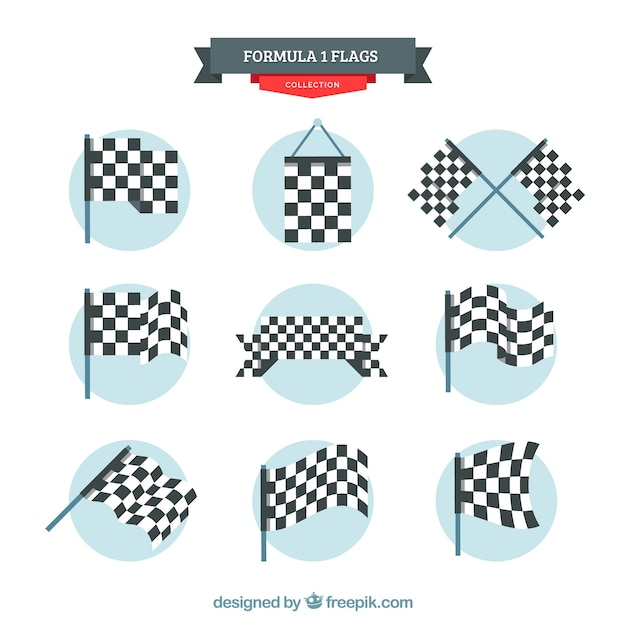 Checkered flag collection with flat design Free Vector