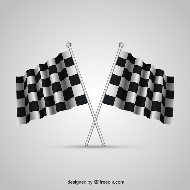 Checkered flag collection with realistic design Free Vector
