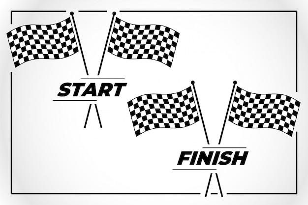 スタートレースとフィニッシュレースのチェッカーフラッグ 無料ベクター