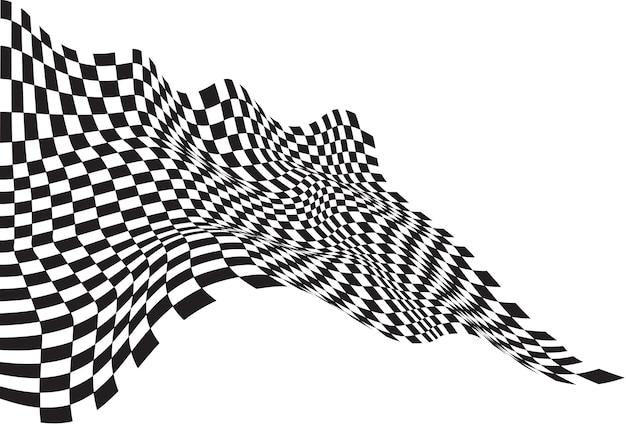 Checkered flag wave black on white background. Premium Vector