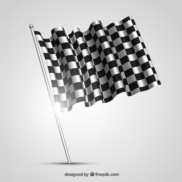 Checkered flag with realistic design Free Vector