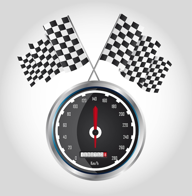 Checkered flag with speed racing over gray background vector Premium Vector