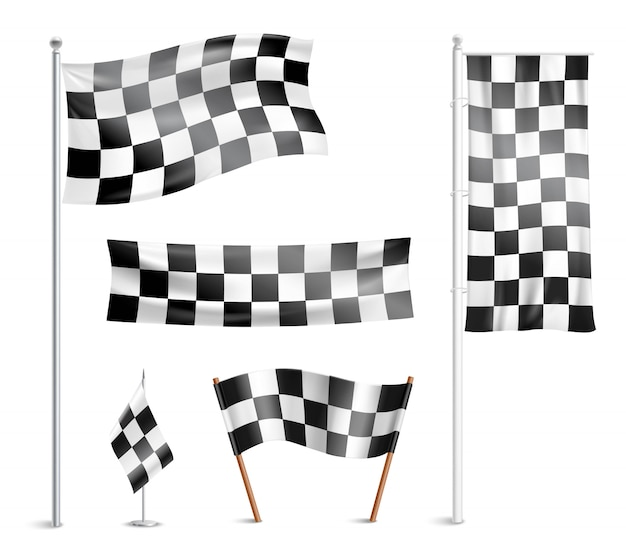 Checkered flags pictograms collection Free Vector