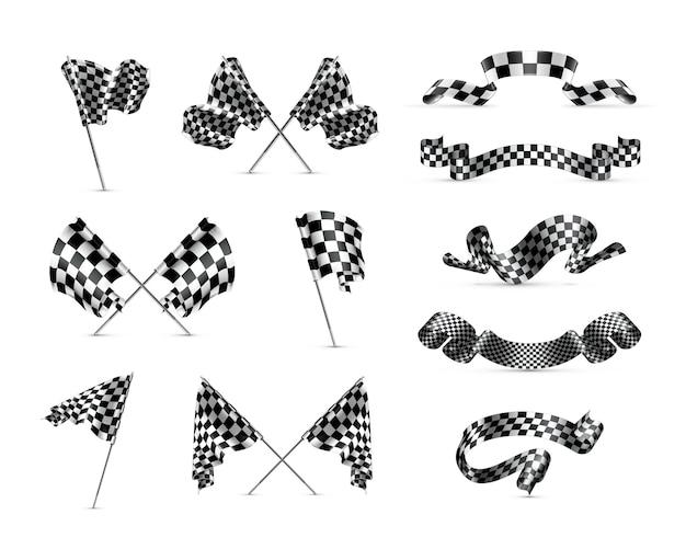 Checkered flags set Premium Vector