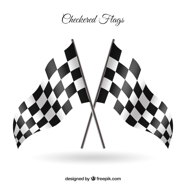 Checkered flags with realistic style Premium Vector
