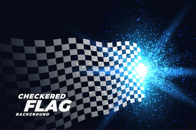 Checkered racing flag with blue lights particles background Free Vector
