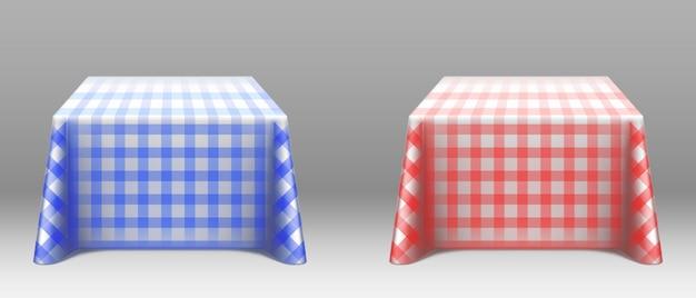 正方形のテーブルのモックアップに市松模様のテーブルクロス 無料ベクター