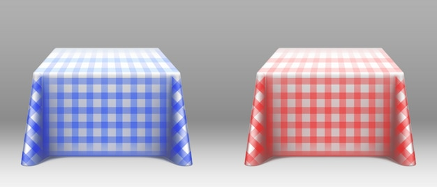 Checkered tablecloths on square tables mockup Free Vector