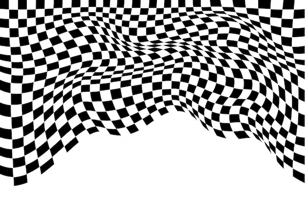 Checkered wave monochrome on white isolated background. Premium Vector