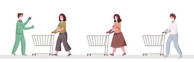 Проверка температуры тела перед входом в супермаркет и дезинфекция людей, поддерживающих социальную дистанцию в очереди с корзиной для покупок, чтобы предотвратить появление коронавируса. Premium векторы