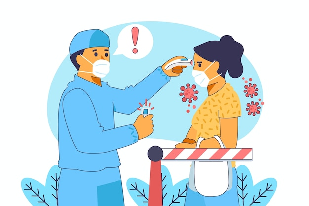 Checking body temperature in public areas illustration Free Vector