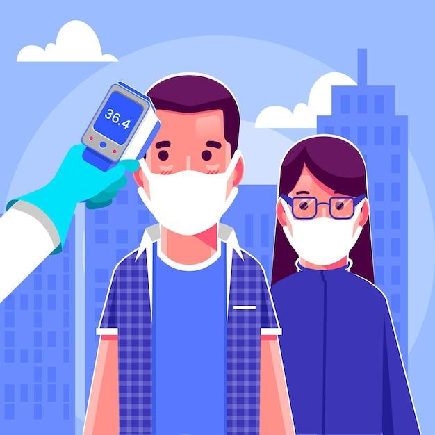 Checking body temperature in public areas Free Vector