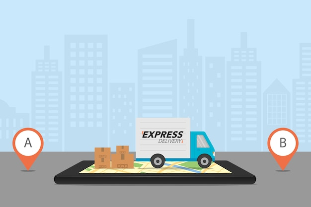 Checking delivery service app on mobile phone Premium Vector