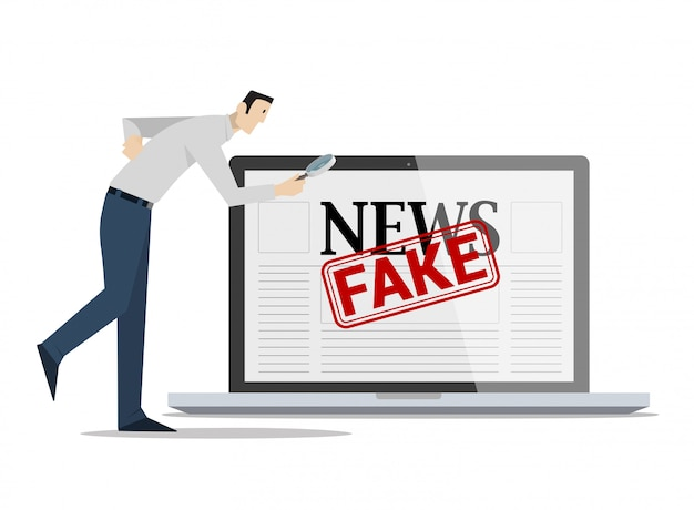 Checking fake news concept. Premium Vector