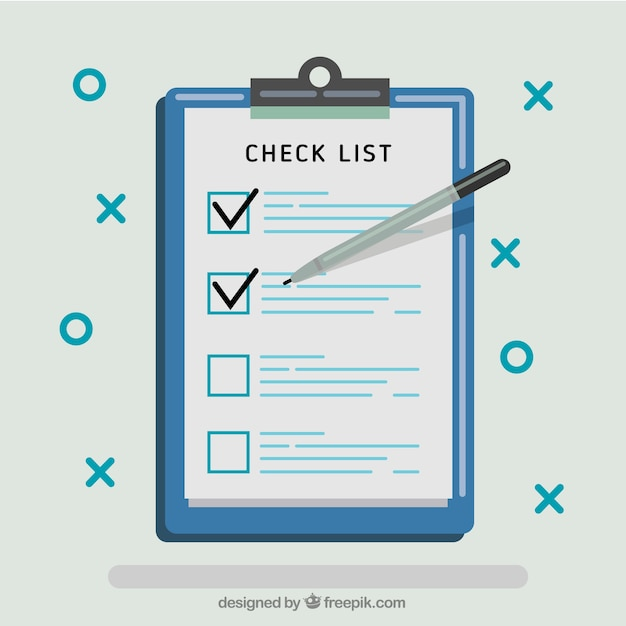 Checklist background in flat design Free Vector