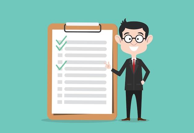 Checklist business man with clipboard Premium Vector