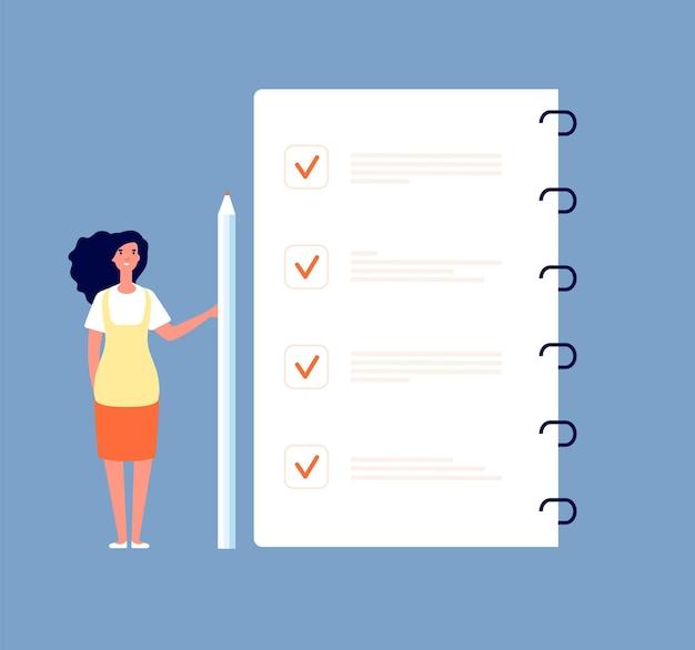 Checklist concept. businesswoman standing at to do list. months planning, time management and survey form vector background. checklist task paper, business plan list illustration Premium Vector