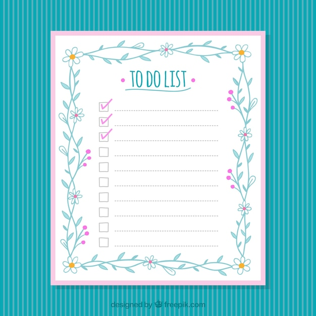 Checklist template with floral decoration Vector | Free Download